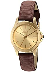 Invicta Womens 15150 Angel 18k Yellow Gold Ion-Plated Stainless Steel and Brown Leather Watch