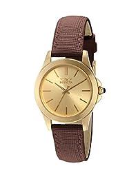 Invicta 15150 Angel - Reloj de pulsera para mujer, acero inoxidable bañado en iones de oro amarillo de 18 quilates y piel café