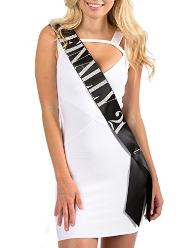 21st Bday Sash - Black Satin