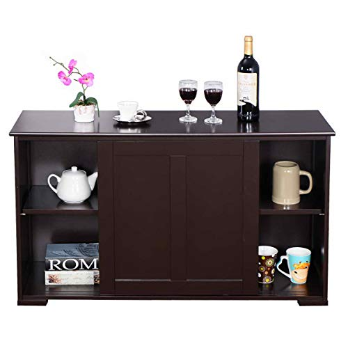 WATERJOY Kitchen Storage Sideboard, Stackable Buffet Storage Cabinet with Sliding Door Tempered-Glass Panels for Home Kitchen, Antique Brown