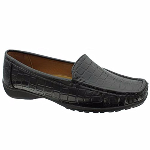 Pierre Dumas Hazel-7 Frauen Casual Flexsole Slip On Loafer Schwarzes Krok