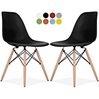 Eames Style Chair by La Valley - Set Of 2 - Mid Century Modern Eames Molded Shell Chair with Dowel Wood Eiffel Legs - for Dining Room, Kitchen, Bedroom, Lounge - Easy-Assemble & Clean - Black