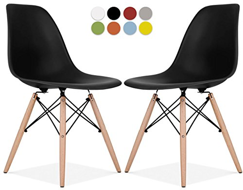 Le Vigan Mid Century Modern Molded Shell Chair with Dowel Wood Eiffel Legs - Set of 2 - for Dining Room, Kitchen, Bedroom, Lounge - Easy-Assemble & Clean - -