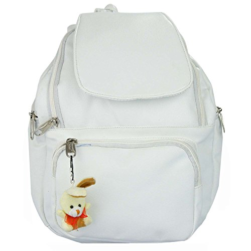 JG Shoppe Polyester Fabric White Casual Backpack