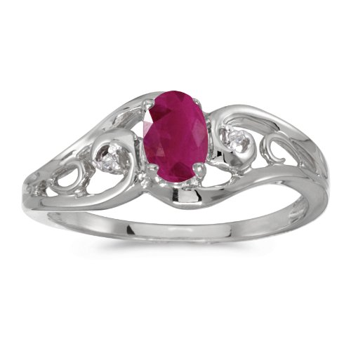 0.37 Carat ctw 10k Gold Oval Red Ruby & Diamond Accent Swirl Filigree Bypass Fashion Promise Ring - White-gold, Size 9.5