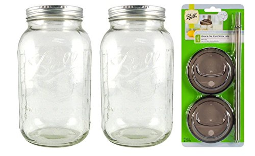 Ball Wide Mouth Half Gallon 64 Oz Jars with Lids and Bands, Set of 2, with Sip N Straw Lids Pack