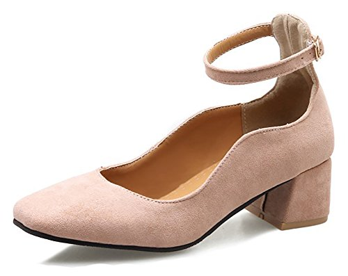 Aisun Donna Casual Comfort Chunky Tacco Medio Dressy Low Cut Fibbia Scarpe A Punta Quadrata Con Cinturino Alla Caviglia Rosa