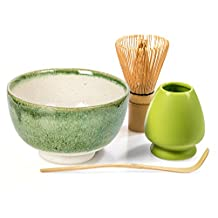 Tealyra - Matcha - Start Up Kit - 4 items - Matcha Green Tea Gift Set - Japanese Made Green Bowl - Bamboo Whisk and Scoop - Whisk Holder - Gift Box