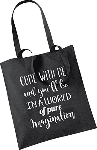 100 Friend Wonka amp; Gift Black me a 42cm Great in Birthday pure you'll Xmas Cotton with tote world x Willy imagination be Craft Come 38cm bag of nxFHP1w