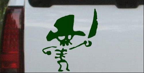 Dark Green 8in X 7.1in -- Cute Funny Pirate Skeleton Skulls Car Window Wall Laptop Decal Sticker