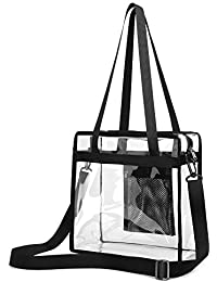 Clear Stadium Bag, Clear Tote Bag NFL Stadium Approved 12 x 12 x 6 Heavy Duty Clear Crossbody Bag with Shoulder Straps and Zippered Top for School, Work, Sports Games and Concerts