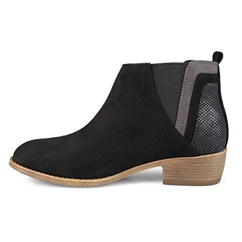 Brinley Co Womens Faux Suede Ankle Faux Snake Heel Booties Black, 11 Regular US