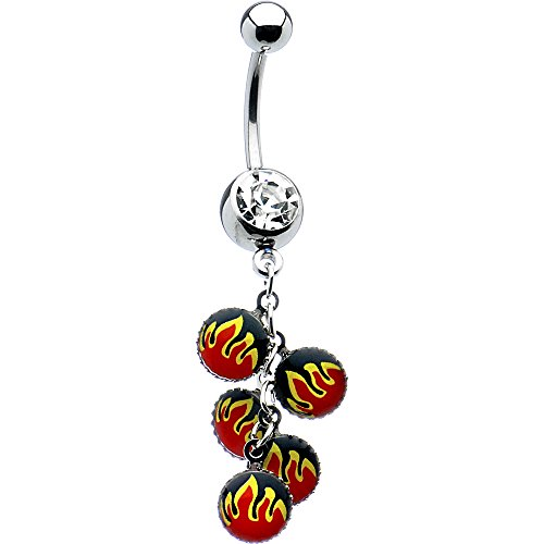 (Clear Dangling Burning Flames Bottletop Belly Ring)