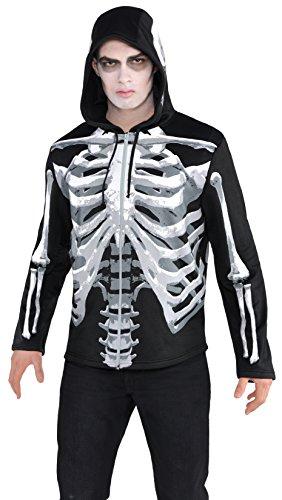 AMSCAN Black & Bone Hoodie Skeleton Halloween Costume for Men, Standard -