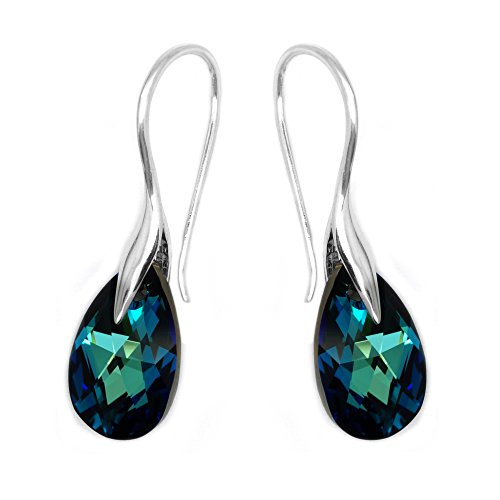 Sterling Silver 925 Blue Green Made with Swarovski Crystals Drop Hook Casual Earrings