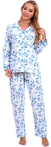 2 Piece Nightgown (Patricia Lingerie Women's Cotton Flannel Floral Two Piece Pajama Set (Medium, Floral)