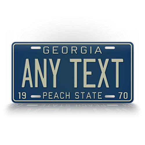 Custom License Plate Retro BLUE & GREY/WHITE Peach State Antique Auto Car Replica Tag (Georgia Custom License Plate)