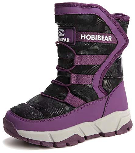 (Boys Snow Boots Outdoor Waterproof Winter Kids Shoes Purple Size 39)