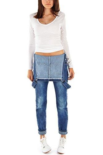 Bestyledberlin - Pantalón de peto vaquero para mujer j12fn azul oscuro