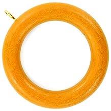 Bulk Hardware BH03279 Wooden Curtain/ Drape Pole Ring with Screw Eye - Internal diameter is 1-7/8 inch Medium Brown, Pack of 10