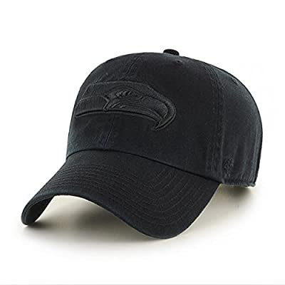 Seattle Seahawks Hat NFL Authentic 47 Brand Clean Up Adjustable Strapback Black Football Cap Adult One Size Men & Women 100% Cotton from '47