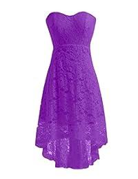 Miranda's Bridal Women's High Low Sweetheart Short Mini Lace Bridesmaid Dress