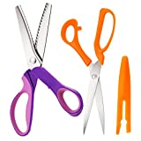 Hestya Pinking Shears 9.2 Inches Serrated Scissors Stainless Steel Handled with 9.1 Inches Sewing Scissors Fabric Shears for Dressmaking Sewing Craft