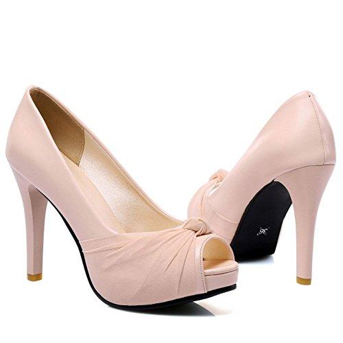 FANIMILA Mujer Moda Sin Cordones Tacon alto Delgado Sandalias Peep Toe Zapatos Rosado