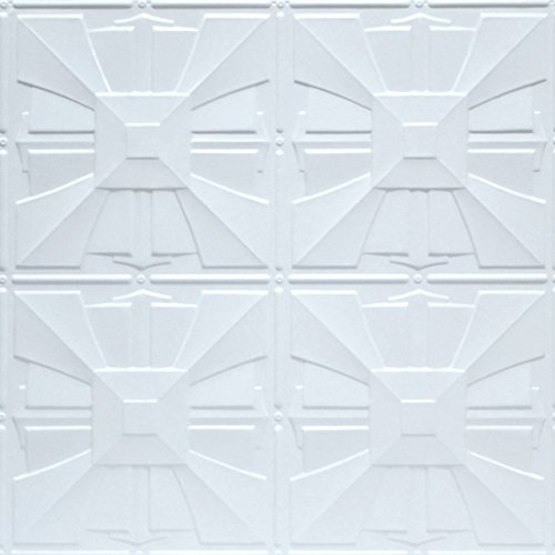 Shanko W314DA Pattern 314 Pressed Metal Wall and Ceiling Tiles, 20 sq. ft, White, 5 Piece (Decorative Tile 5 Piece)