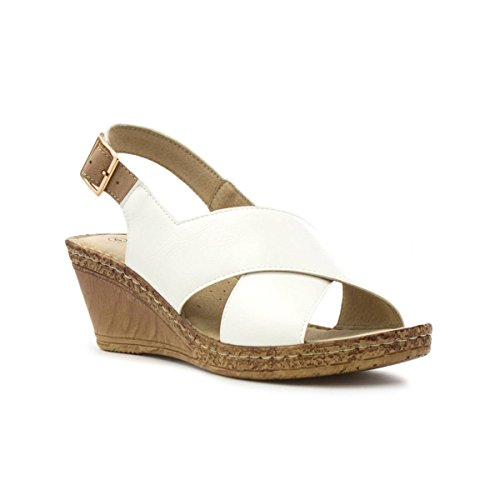 Cushion Walk Womens White Cross Strap Wedge Sandal White j8ks1P001C