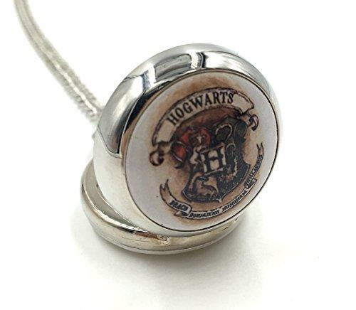 Joyplancraft Vintage Silvery Hogwarts School Badge Locket Watch, Harry Potter Magic School Inpired Pocket Watch Party Gift ()