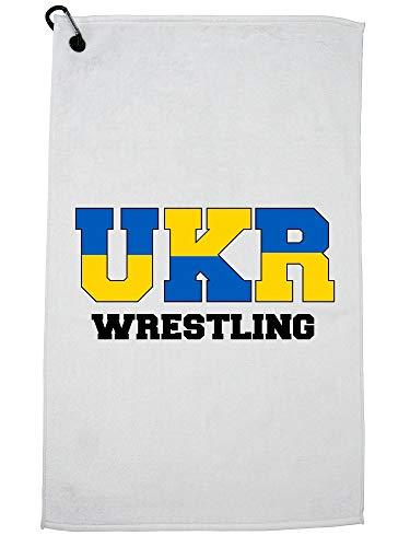 Hollywood Thread Ukraine Wrestling - Olympic Games - Rio - Flag Golf Towel Carabiner Clip by Hollywood Thread