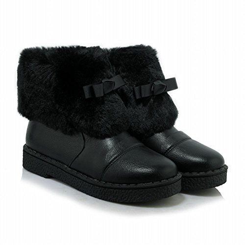 Show Shine Womens Sweet Bows Low Heel Faux Velvet Lining Snow Boots Black F2sXoUNYoa