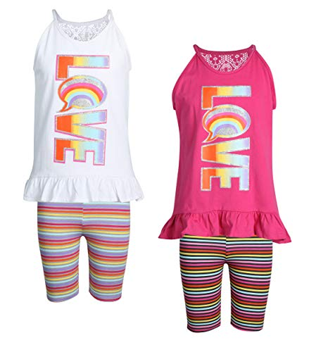Real Love Girl's 4-Piece Bermuda Short Set, Rainbow of Love, Size 14/16'