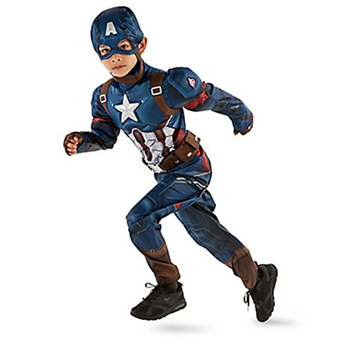 Disney Store Little Boys Captain America Civil War Costume Sz 7/8 Multi