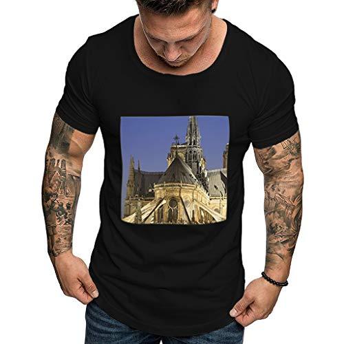 Notre Dame Port - iZZZHH Men's Fashion Notre Dame de Paris Printing Tees T-Shirt Short Sleeve Top Blouse(A-Black,S)