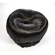 Black Ballet Bun Clip in Hairpiece   Braided Edge Design Up-do Hair Bun