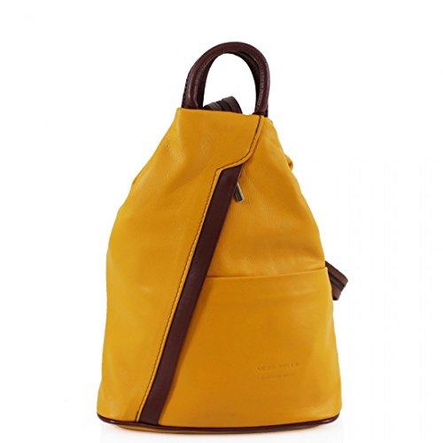 Italian Vera Girls Soft VPR244 Yellow Rucksacks Bags Women Pelle School Leather Brown Ladies Backpacks Gym qwXtSUZt