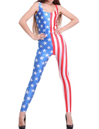 Pink Queen Women's Star-spangled Banner American Flag Print One-Piece Unitards]()