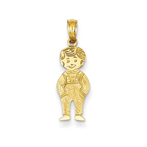 14k Yellow Gold Boy with Hands In Pocket Pendant, 8mm 14k Yellow Gold Pocket