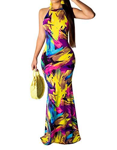 Women's High Neck Racerback Tie Dye Maxi Dress Bodycon Mermaid Evening Dress Gown Rainbow