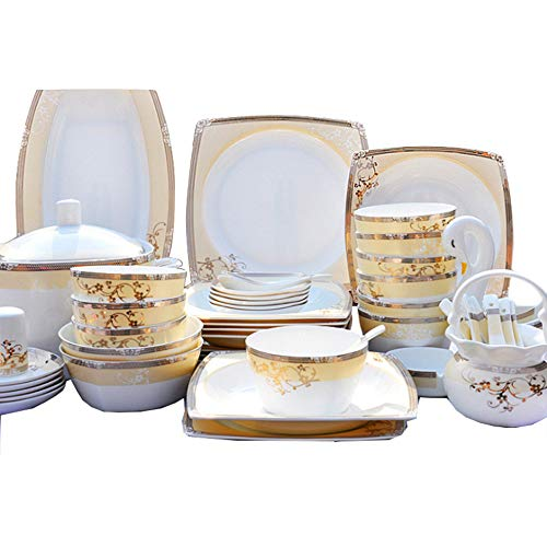 (YLee Bone China Dinner Set - Continental Bone China Tableware 47 Pieces/China Healthy Tableware/Unbreakable Cutlery Set)