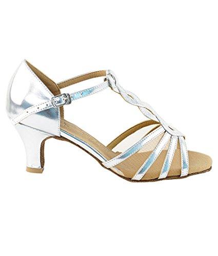 Very Fine Ballroom Latin Tango Salsa Dance Shoes for Women SERA1692 2.5 Inch Heel + Foldable Brush Bundle Silver-flesh Mesh 2014 unisex sale online s55lXHYmQU