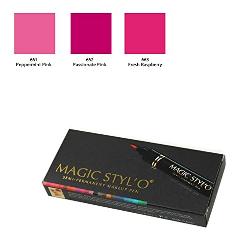 Bundle of 3 Items: Magic Stylo Semi Permanent Makeup Pen (Peppermint Pink, Passionate Pink, & Fresh Raspberry)