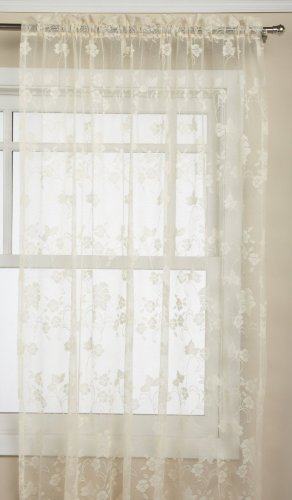 - LORRAINE HOME FASHIONS Floral Vine 60-inch x 63-inch Tailord Panel, Ivory