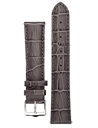 Signature Senator watch band. Replacement watch strap. Genuine Leather. Silver buckle. (Steel, 16 mm - short)