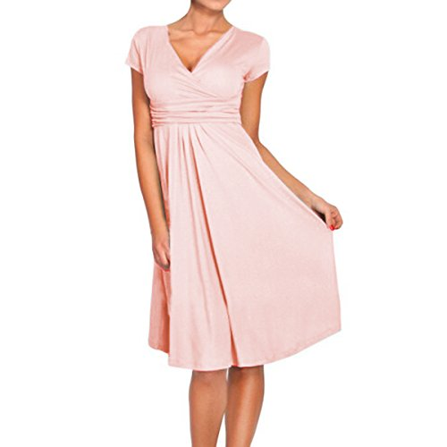 Sue&Joe Women's Fit and Flare Dress V-Neck Ruched Flowy Pleated Cap Sleeve Dress, Pink, TagsizeM=USsize4-6