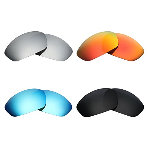 Mryok 4 Pair Polarized Replacement Lenses for Oakley Straight Jacket 2007 Sunglass - Stealth Black/Fire Red/Ice Blue/Silver - Jacket Oakley Lenses Polarized Replacement Straight