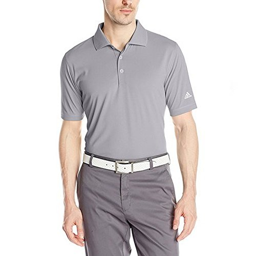 adidas Golf Men's Solid Polo Jersey, Mid Grey, X-Large