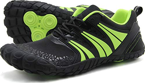 Oranginer Men's Barefoot Shoes Big Toe Box Minimalist Running Shoes for Tennis Run Walk Athletic Black/Green Size 10 (Best Wide Toe Running Shoes)